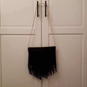 H&M black suede fringe bag with gold chain